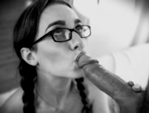 amateur photo brunette in glasses readies for a BJ