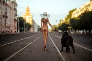 amateur photo Walking the dog