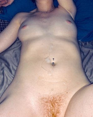 amateur photo Original ContentHad to play with the lighting to see the cumshot on her pale ginger skin 💦