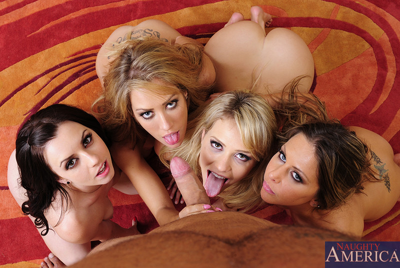 Four girls share one cock