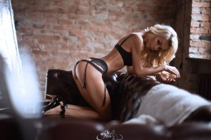 amateur photo A Blonde in Black Lingerie