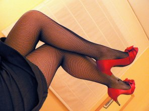 amateur photo Fishnet legs