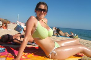amateur photo Lime green bikini on the beach