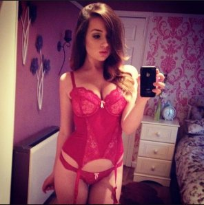 amateur photo Beauty in Red Lingerie