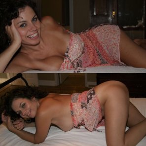 amateur photo Curly haired milf gets in position