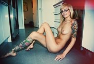 Glasses, Tats, and Nude in the Kitchen