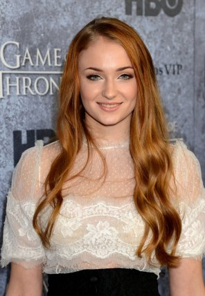 amateur photo Sophie Turner in a mostly sheer white top