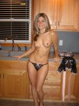 amateur photo Naked in kitchen