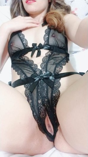 amateur photo How is my crotchless lingerie? 😘