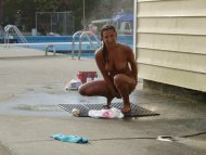 amateur photo Naked & awkward by the public swimming pool