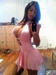 amateur photo Revealing pink dress