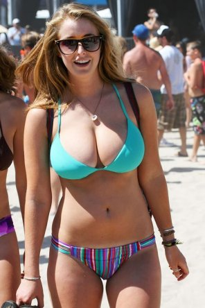 amateur photo Huge knockers in the beach!
