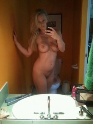 amateur photo Lovely Blonde Showing Off Her Super Hot Body In The Mirror