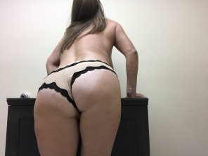 amateur photo [OC] Bent over at work wishing one of my co-workers would man up and try something!! 😈