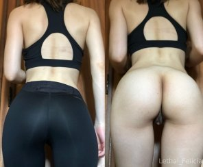 amateur photo My black yoga pants! On/off 💚