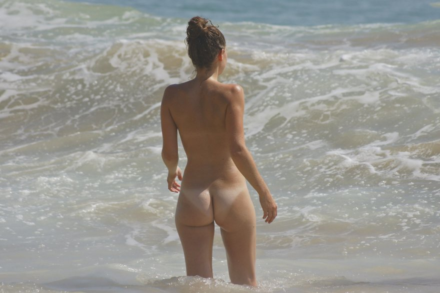 Sweet rear view on the beach Porn Photo