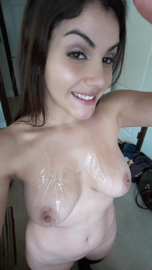 "amateur photo Valentina Nappi Selfie from Twitter - ""Today @MickBluexxx and @TommyPistol came on my boobs"""