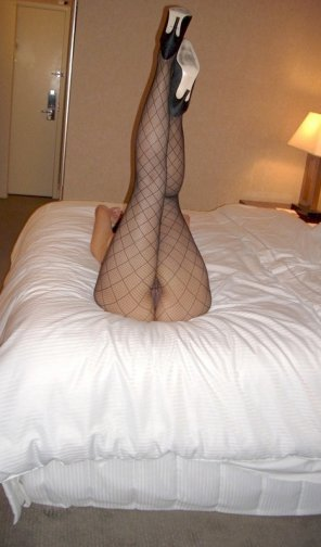 amateur photo Black stockings and heels
