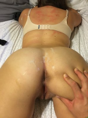 amateur photo Roughed up and covered in cum