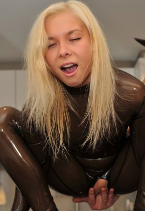 amateur photo Fingered in her latex suit