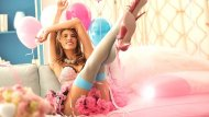 Pink and blue, and balloons too