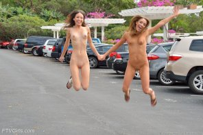 amateur photo Being jumped in a parking lot by these women is fun for everyone involved
