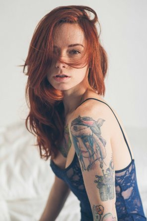 amateur photo Redhead with Tats