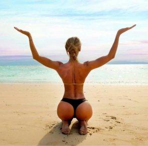 amateur photo Yoga on a serene beach