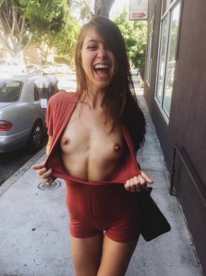 amateur photo Riley flashing on the street