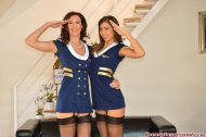 2 sexy stewardesses reporting for duty