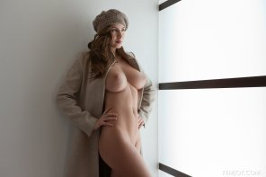 amateur photo Josephine models her coat