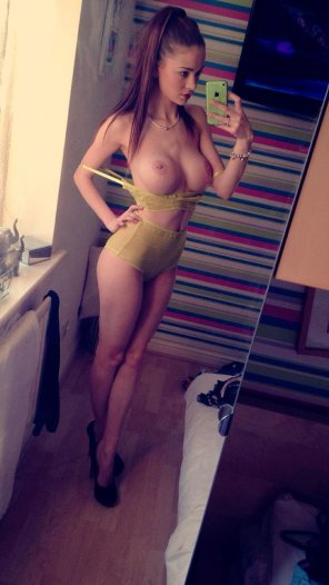 amateur photo High Heels and Pierced Nipples Selfie