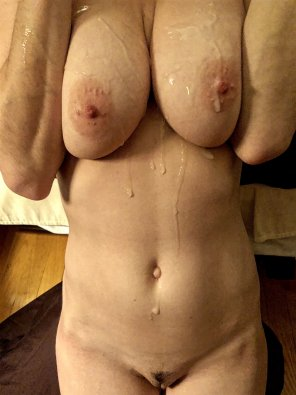 amateur photo How can I let you go to work without cumming on my big tits first? [OC]