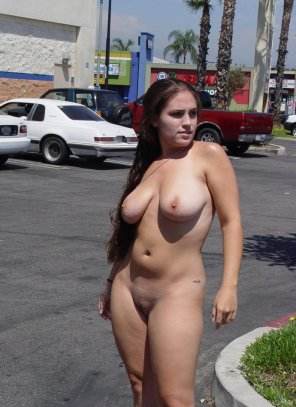 amateur photo Naked in a parking lot