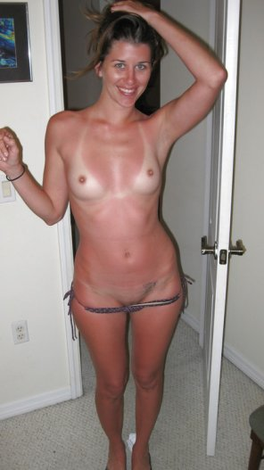 amateur photo So she keeps her tits covered, but not her vajayjay.