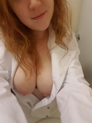 amateur photo I love the way my tits look in my uni[f]orm