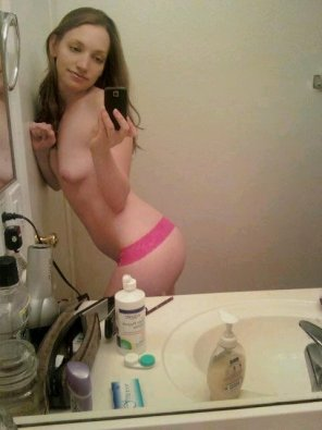 amateur photo Pink lace selfshot