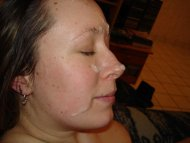 amateur photo Sperm on her face