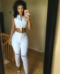amateur photo Beauty in tight white jeans