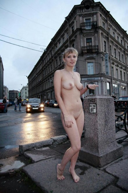 naked on the corner Porn Photo