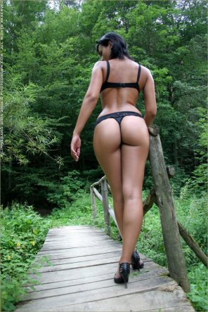 amateur photo Nice black thong