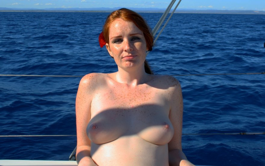 Topless at sea Porn Photo