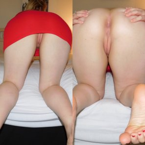 amateur photo Which do you prefer: her perfect pink pussy barely showing between her tight red dress, or bare and spreading her cheeks?
