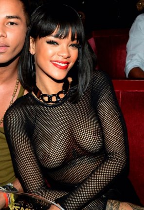 amateur photo Rihanna see through fishnet.