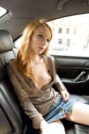 amateur photo Redhead nip slip