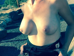 amateur photo My wife flashing her tits outdoors