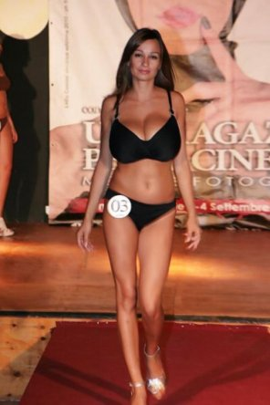 amateur photo Massive juggs on this skinny beauty pageant contestant
