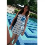 amateur photo Teen in dress poolside