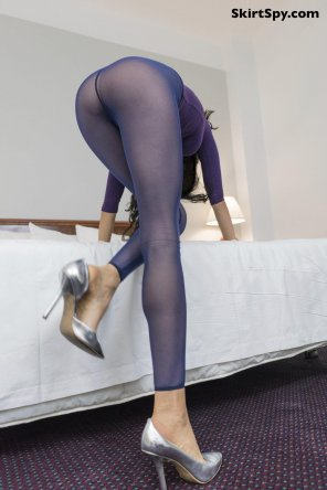 amateur photo Qualified Ass up enough? Blue Sheer Micro Mesh and Great Legs
