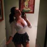 amateur photo Sultry School-Girl In The Mirror